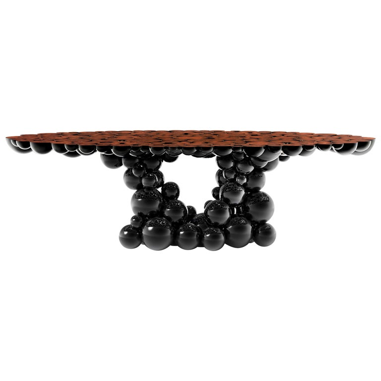 Newton Dining Table in Black Lacquered Aluminum and Walnut Root Veneer Top For Sale