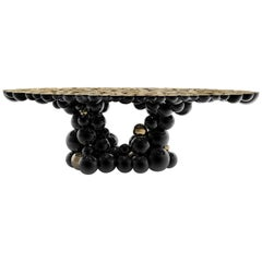 Newton Dining Table in Black Lacquered Aluminum and Gold Plated Brass