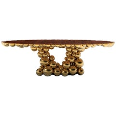 Newton Dining Table in Gold & Myrtle Aluminum and Walnut Root Veneer Top