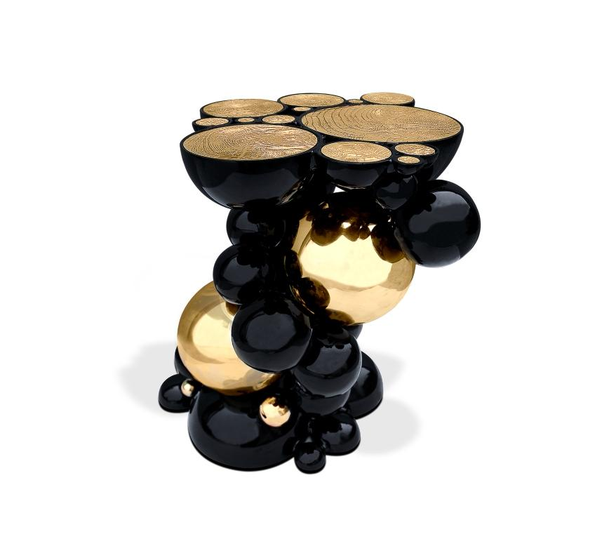 Newton Side Table in Black Lacquered Aluminum by Boca do Lobo