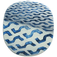 Organic Shape Blue Rug High Performance Fibers by Deanna Comellini 190x200 cm