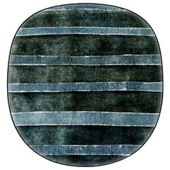 Organic Shape Green Striped Rug High Performance by Deanna Comellini 190x200 cm