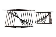 Pair of Modular Side Tables in Blackened Steel and Smoked Glass by Force/Collide