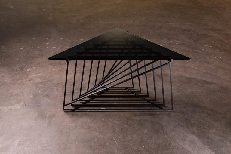 Nexus Side Table in Blackened Steel and Smoked Glass by Force/Collide For Sale 1
