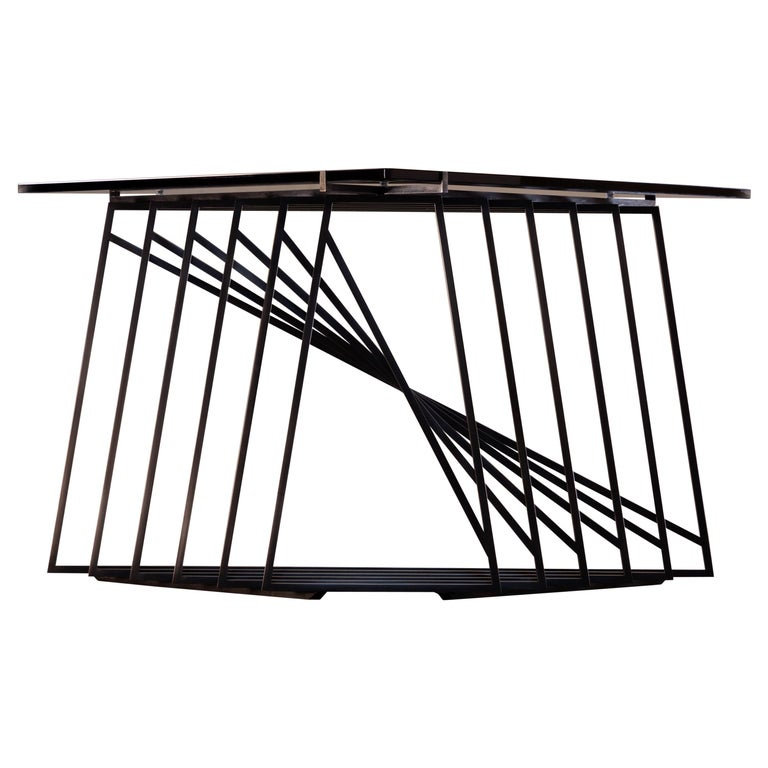 Nexus Side Table in Blackened Steel and Smoked Glass by Force/Collide For Sale