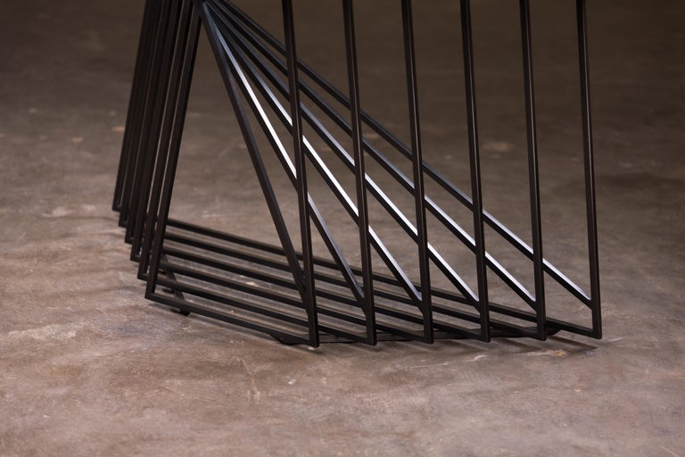 Side Table Trio, Blackened Steel, Gray Glass, Modular, Geometric, Force/Collide For Sale 2