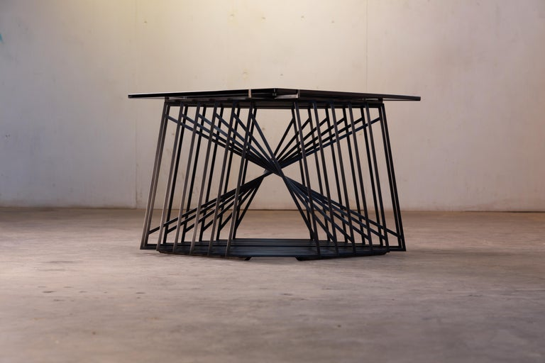 Modern Side Table Trio, Blackened Steel, Gray Glass, Modular, Geometric, Force/Collide For Sale