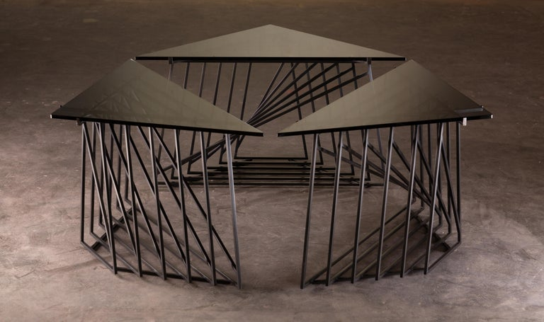 American Side Table Trio, Blackened Steel, Gray Glass, Modular, Geometric, Force/Collide For Sale
