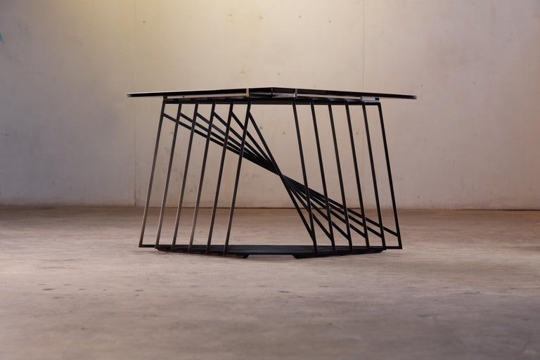 Side Table Trio, Blackened Steel, Gray Glass, Modular, Geometric, Force/Collide In New Condition For Sale In Seattle, WA