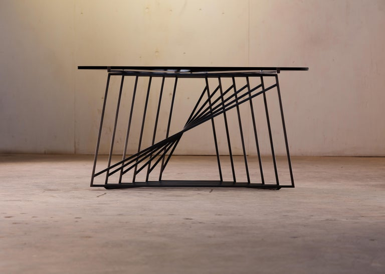 Contemporary Side Table Trio, Blackened Steel, Gray Glass, Modular, Geometric, Force/Collide For Sale