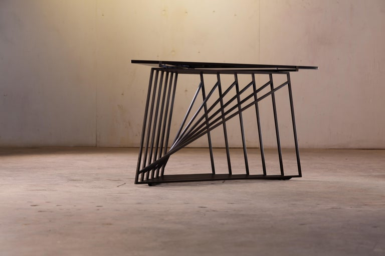 Metal Side Table Trio, Blackened Steel, Gray Glass, Modular, Geometric, Force/Collide For Sale