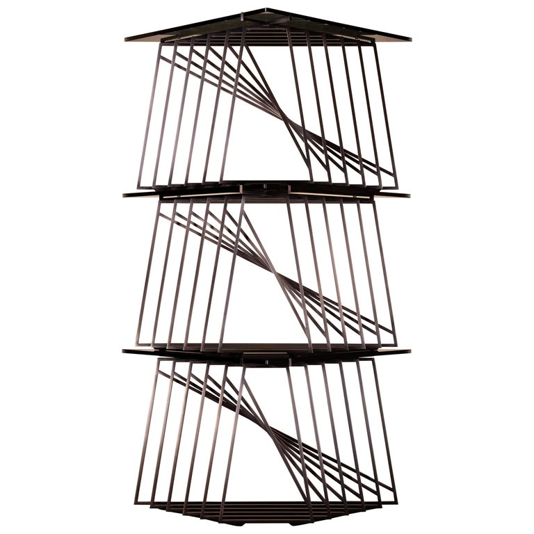 Side Table Trio, Blackened Steel, Gray Glass, Modular, Geometric, Force/Collide For Sale