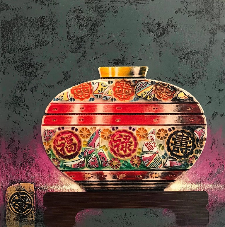Blessings & Luck Original ceramic  still life painting