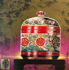 Tea Time I  Original ceramic  still life painting Contemporary Art 21st Century