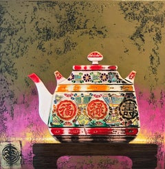 Tea Time III  Original ceramic still life painting Contemporary Art 21st Century