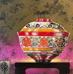 Tea Time IV  Original ceramic still life painting Contemporary Art 21st Century