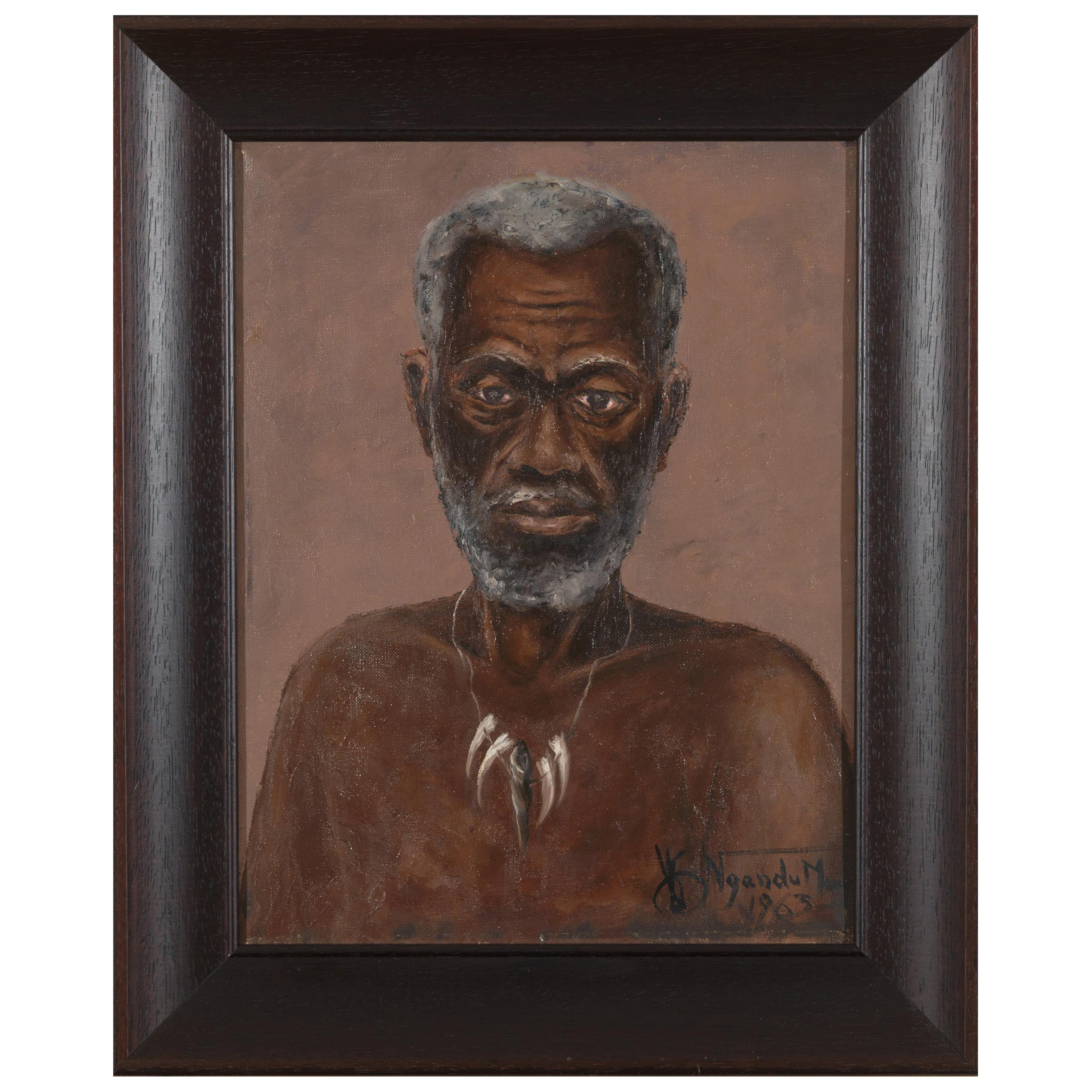 Ngandu Marc African Portrait, Oil on Canvas, Framed, Signed and Dated