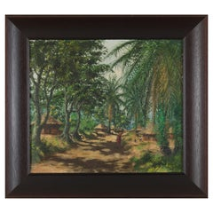 Ngandu Marc African Village View, Oil on Canvas, Framed, Signed and Dated