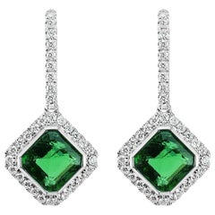 NGTC Certified 3.73 Carat Green Emerald and Diamond Classical Dangle Earring