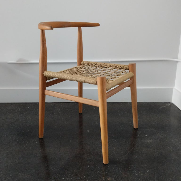 Organic Modern Nguni Dining Chair in Iroko with Crosshatch Weave For Sale
