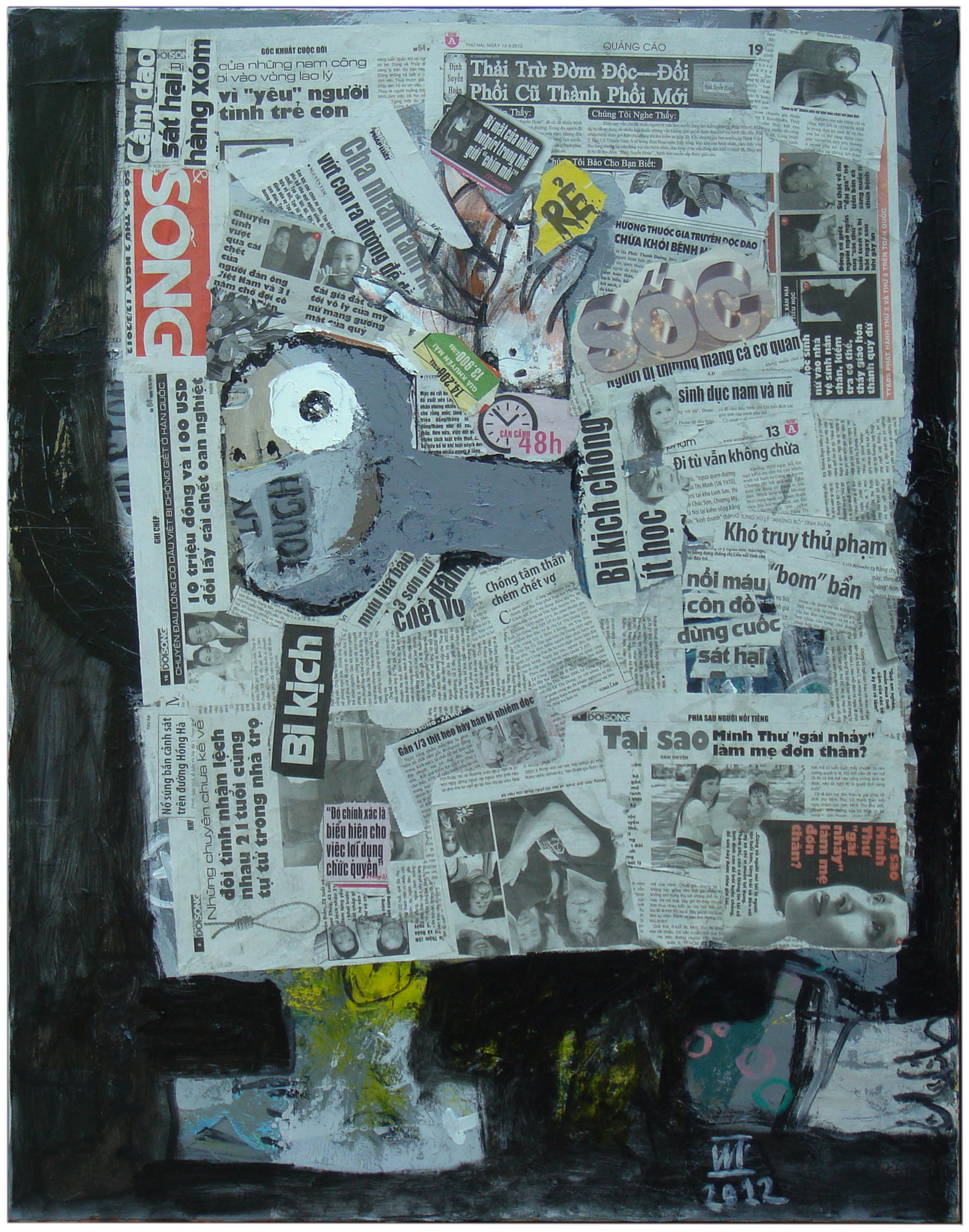 'Reading Newspaper I' Abstract Expressionist Mixed Media