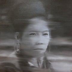 'Tribal Indochine Woman III', Large Photorealist Painting