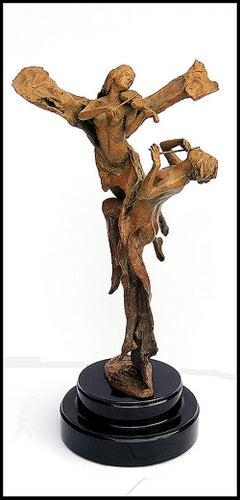 TUAN Nguyen Rare Affection Bronze Nude Sculpture Signed Statue Musical Artwork