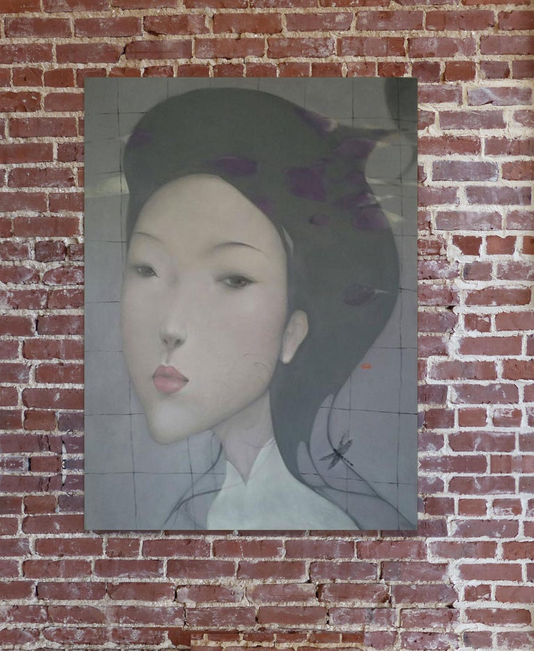 Elegance by Nguyen Van Cuong, Large Oil on Canvas Figurative Portrait Painting For Sale 2