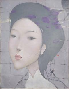 Elegance, Large Oil on Canvas Figurative Portrait Painting