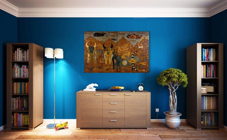 Buffalo Boys by Nguyen Xuan Anh, Lacquer on Wood Two-Panel Contemporary Painting For Sale 1
