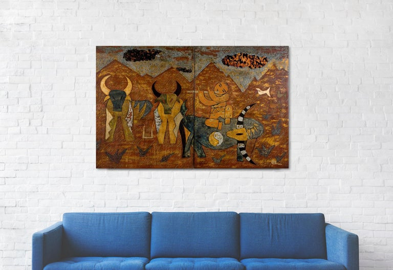 Buffalo Boys by Nguyen Xuan Anh, Lacquer on Wood Two-Panel Contemporary Painting For Sale 2