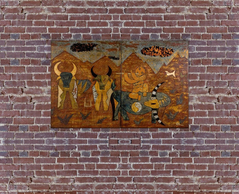 Buffalo Boys by Nguyen Xuan Anh, Lacquer on Wood Two-Panel Contemporary Painting For Sale 3