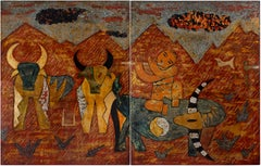 'Buffalo Boys' , Lacquer on Wood Two-Panel Contemporary Painting