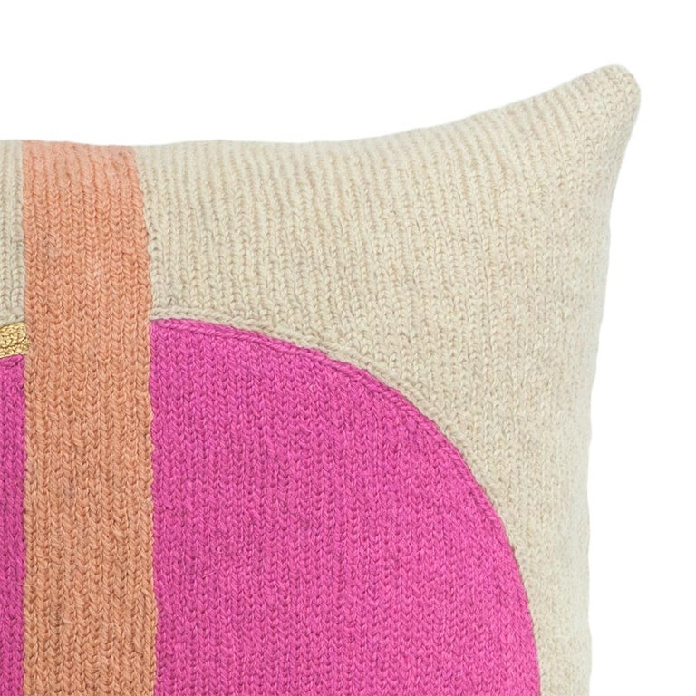 Indian Nia Rise Hand Embroidered Modern Geometric Throw Pillow Cover