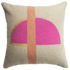 Nia Rise Hand Embroidered Modern Geometric Throw Pillow Cover