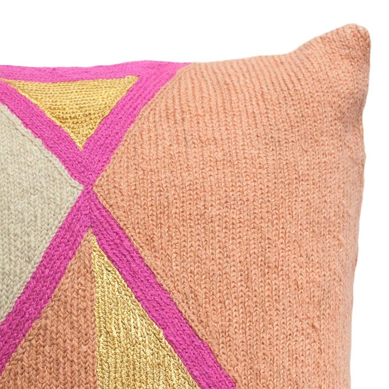 Indian Nia Triangle Hand Embroidered Modern Geometric Throw Pillow Cover For Sale
