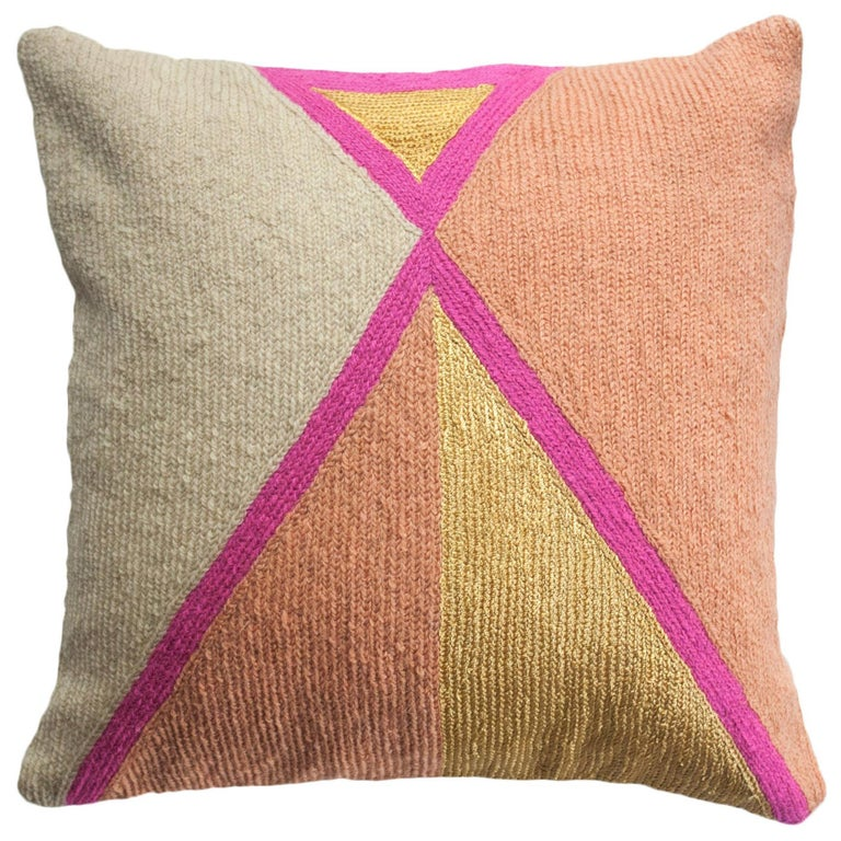 Nia Triangle Hand Embroidered Modern Geometric Throw Pillow Cover For Sale
