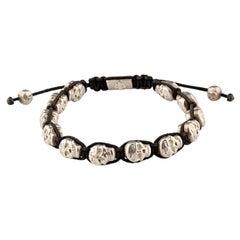 Nialaya Men's Skull Bead Sterling Silver Bracelet Handmade Double Skulls