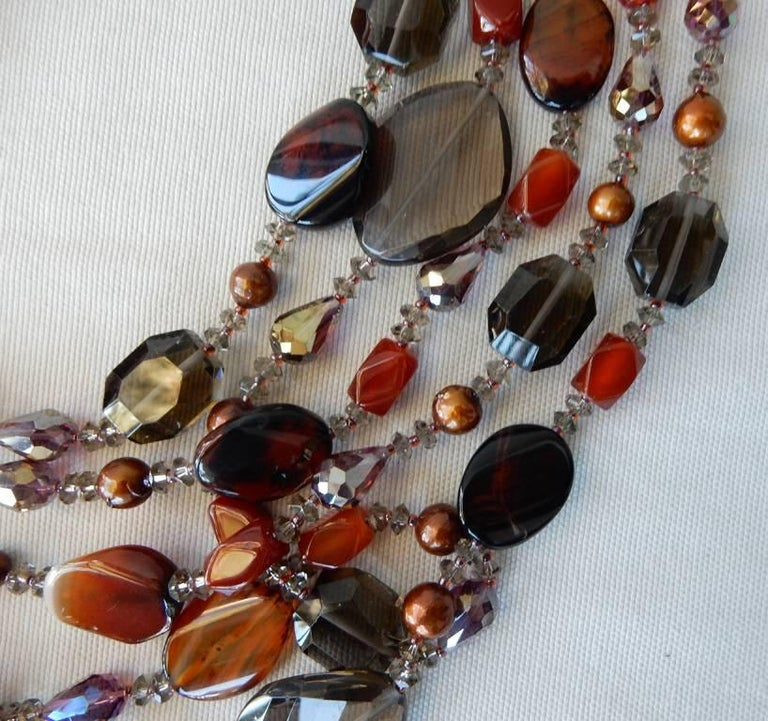 NIB Handcrafted Smoky Quartz and Agate Sterling Silver Floral Necklace In New Condition For Sale In Los Angeles, CA