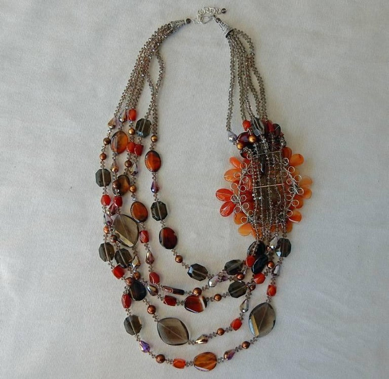 NIB Handcrafted Smoky Quartz and Agate Sterling Silver Floral Necklace For Sale 1
