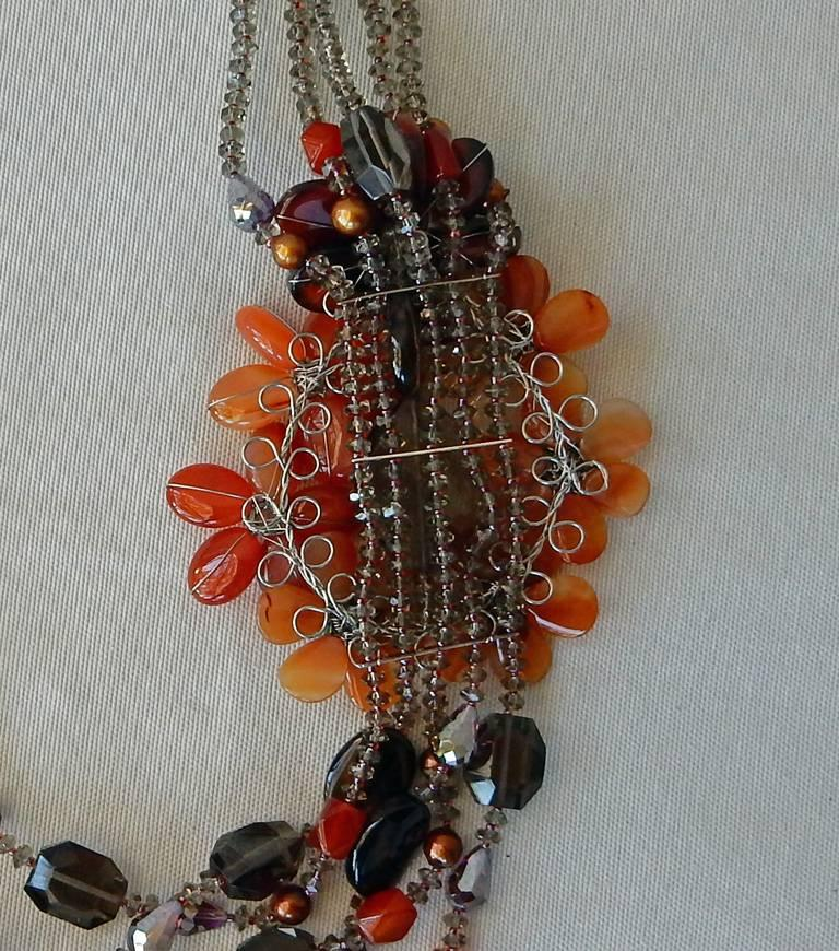 NIB Handcrafted Smoky Quartz and Agate Sterling Silver Floral Necklace For Sale 2