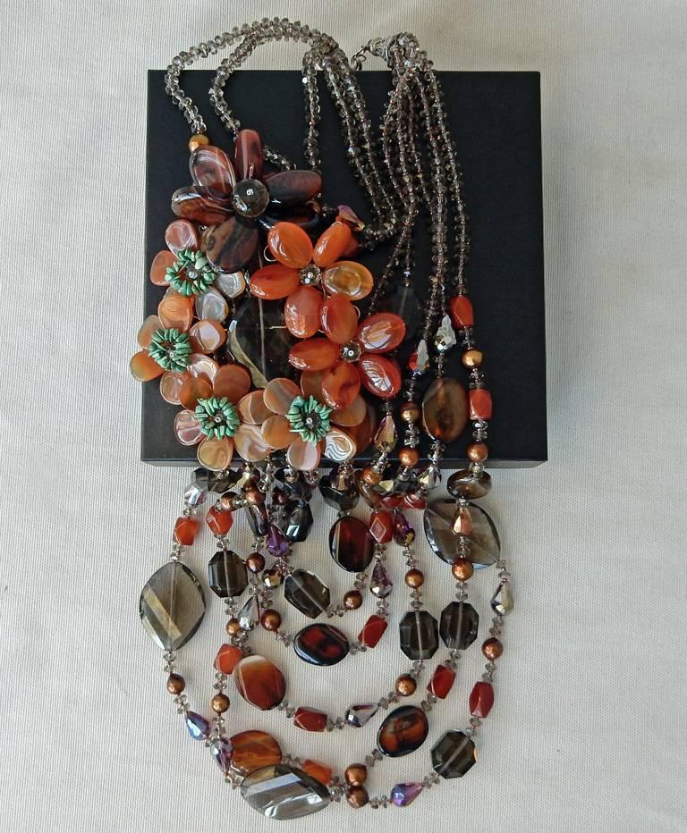 NIB Handcrafted Smoky Quartz and Agate Sterling Silver Floral Necklace For Sale 3