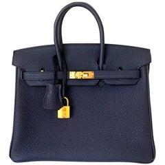 Hermes Birkin 25 Blue Nuit Togo Bag Gold Hardware