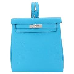 NIB Hermès Bleu Frida Clémence Kelly Ado II Backpack PHW