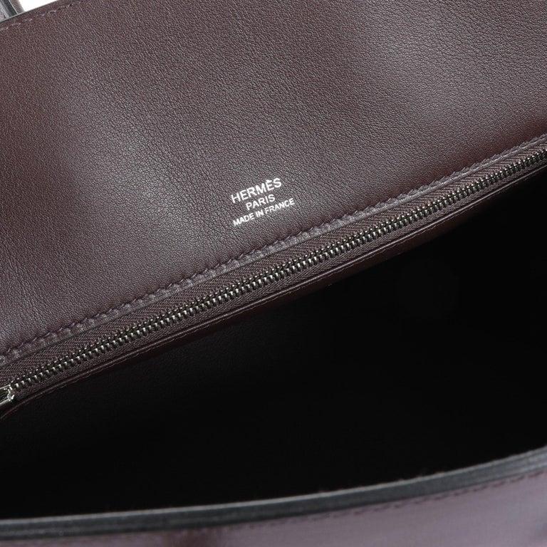 Black NIB Hermès Bordeaux Evercalf Shadow Birkin 25 For Sale