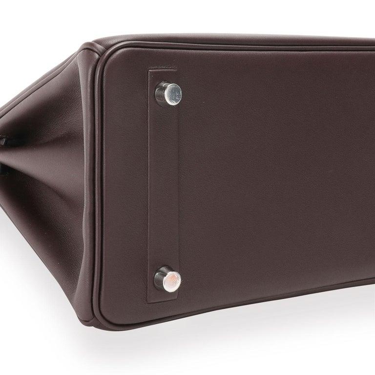 NIB Hermès Bordeaux Evercalf Shadow Birkin 25 For Sale 2