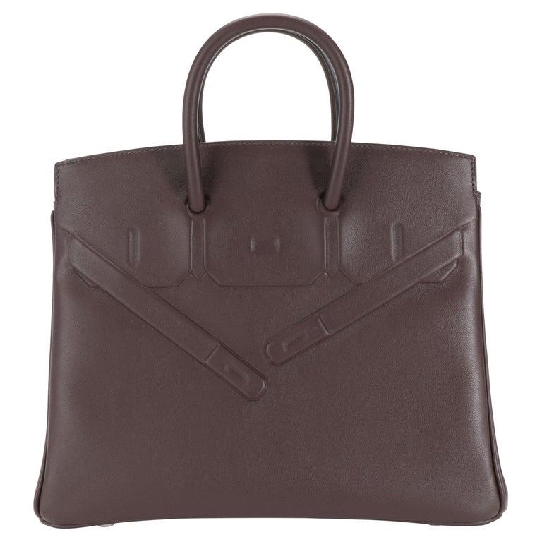 NIB Hermès Bordeaux Evercalf Shadow Birkin 25 For Sale