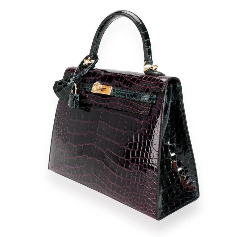 Black NIB Hermès HSS Amethyste & Vert Cypress Shiny Alligator Sellier Kelly 25 GHW