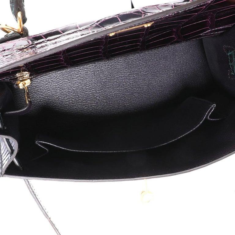 Women's NIB Hermès HSS Amethyste & Vert Cypress Shiny Alligator Sellier Kelly 25 GHW