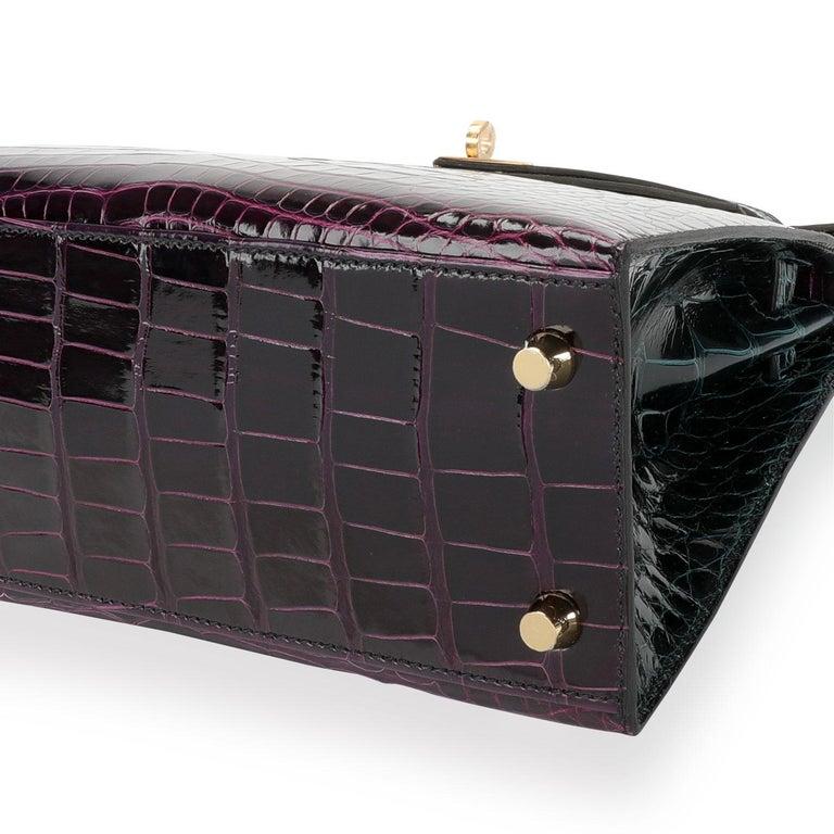 NIB Hermès HSS Amethyste & Vert Cypress Shiny Alligator Sellier Kelly 25 GHW 2